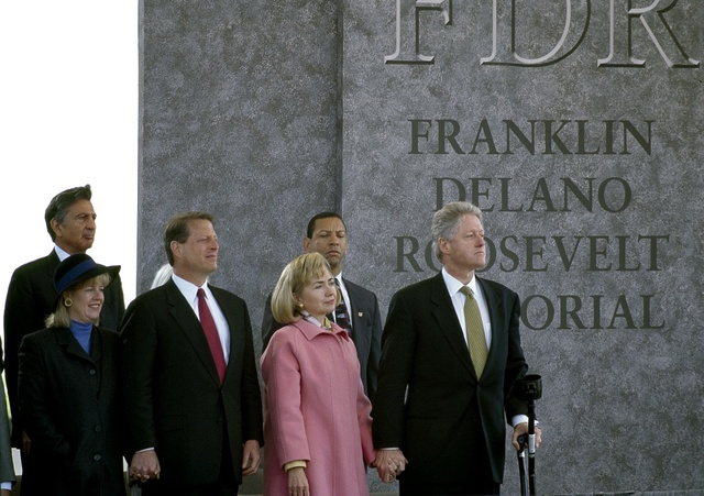 President Bill Clinton, First Lady Hillary Clinton, Vice President Al Gore and his wife Tipper, right to left, at the 1997 dedication of the Franklin Delano Roosevelt Memorial, Washington, D.C.