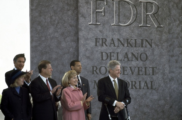 President Bill Clinton, his wife Hillary Clinton and Al Gore and his wife Tipper at the dedication of the FDR Memorial, on May 2, 1997, Washington, D.C.