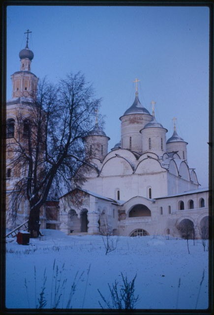 Savior-Prilutskii Monastery, Cathedral of the Savior (1537-42), west view, with bell tower, Vologda, Russia