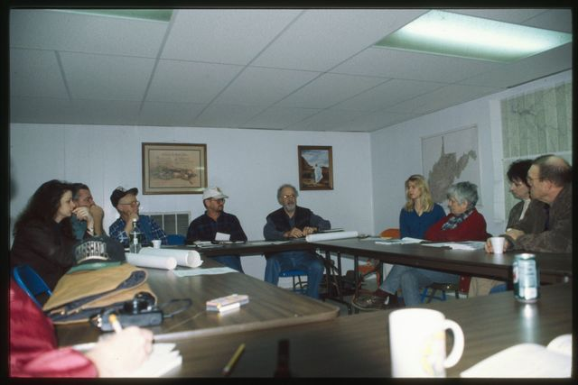 The head of the table, from left: Laura Foreman (OVEC), Carlos Gore, of Logan County (WVOP), Larry Gibson (of Stanley Family Heirs, Kayford Mountain), Randy Sprouse, Lowell Dodge, and Stacy Edmunds
