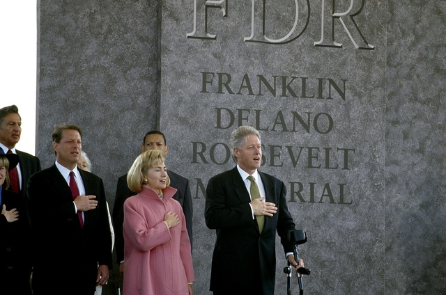Vice President Al Gore, First Lady Hillary Clinton, and President Bill Clinton at the 1997 dedication of the Franklin Delano Roosevelt Memorial in Washington, D.C. The vice president's wife, Tipper, is partially obscured to the left