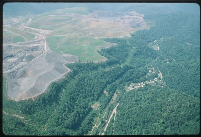 Aerial view of mountaintop removal near Blair