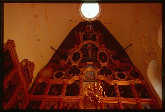 Church of the Ascension (1648-49, 1670s, 1742), interior, upper tier of icon screen, Velikii Ustiug, Russia