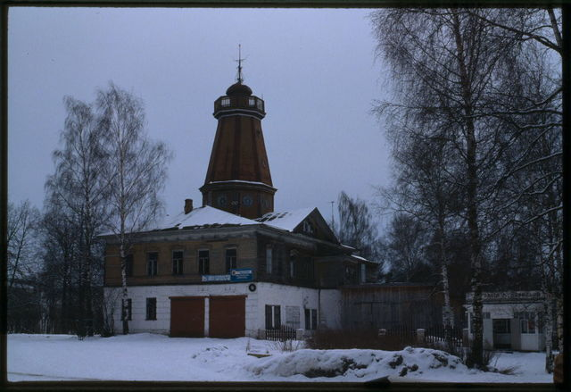 City Hall and fire tower (mid-19th century), Ustiuzhna, Russia