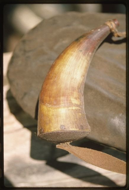 Jim Bailey's homemade hunting pouch and powder horn, on display in the cabin Woody Boggs built at Pettry Bottom