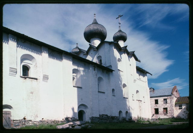 Monastery of the Transfiguration of the Savior, Refectory Church of the Dormition (1552-1557), southwest view, Solovetskii Island, Russia