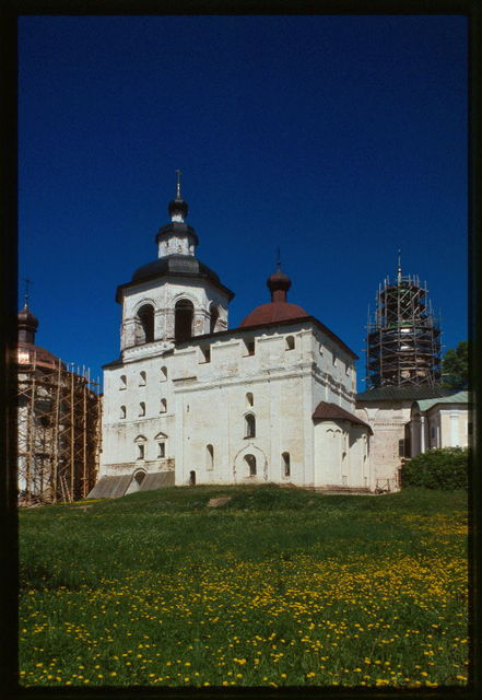 St. Cyril (Kirill)-Belozersk Monastery, Church of Archangel Gabriel (1531-34), with belltower (1761), southeast view, Kirillov, Russia