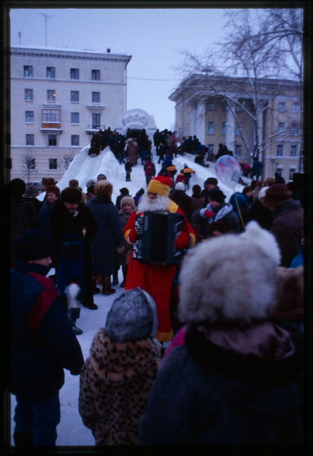 Theater Square, Grandfather Frost performs for 1999 New Year's, Arkhangelsk, Russia