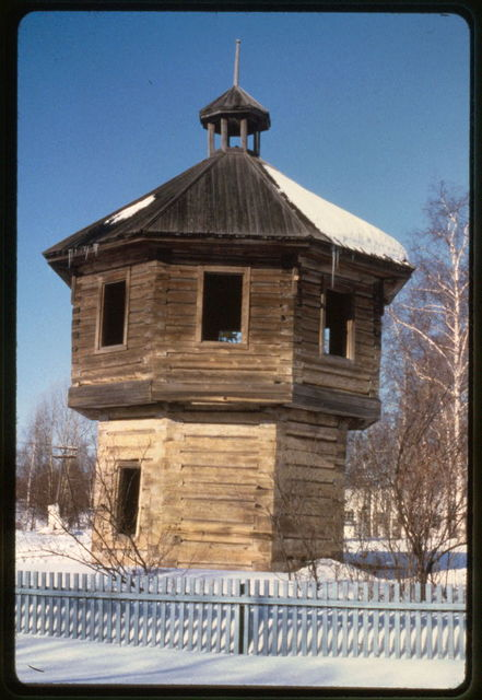 Twentieth-century replica of log stockade tower at Stroganov compound, Sol'vychegodsk, Russia