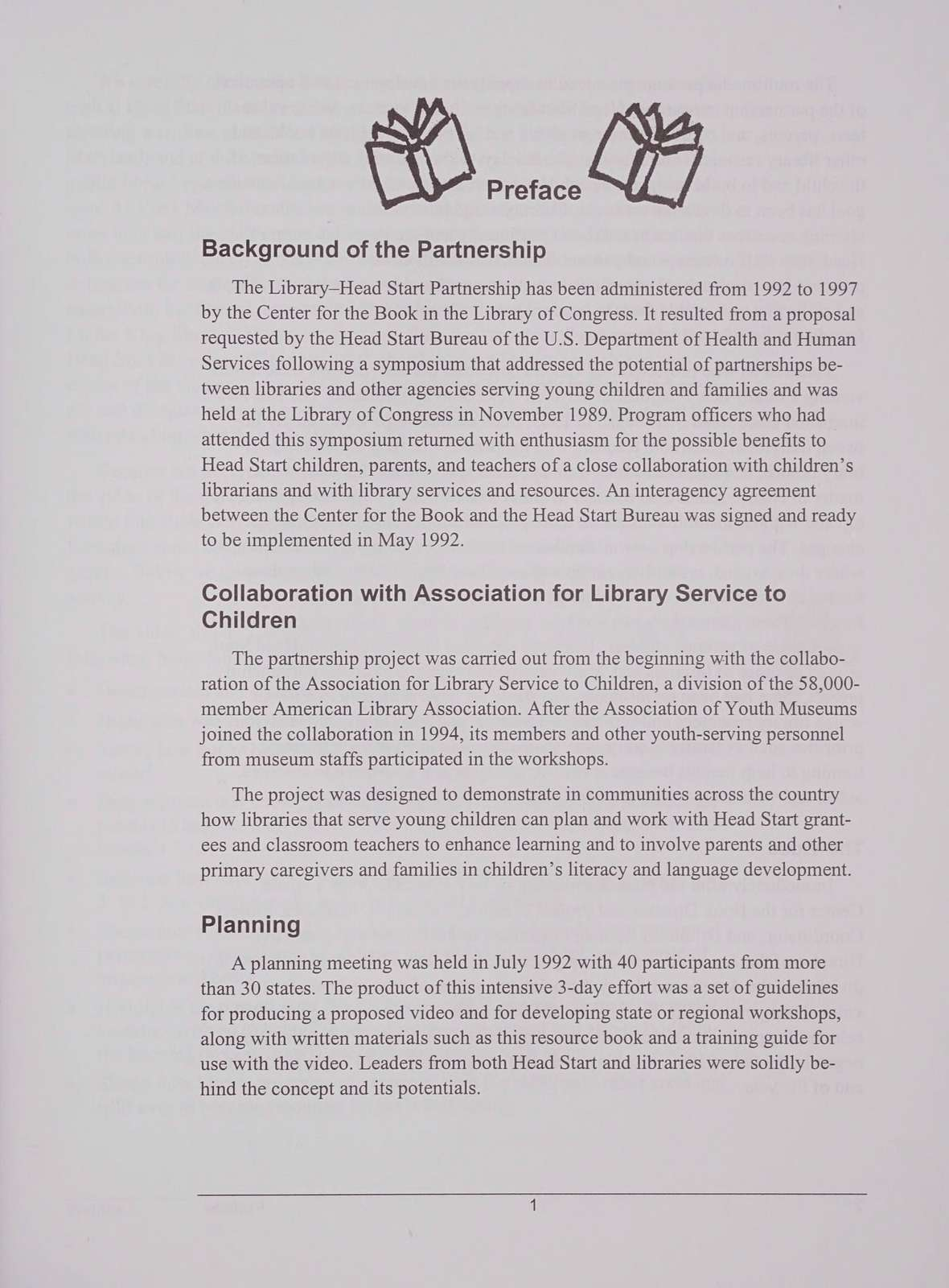 A library head start to literacy : the resource notebook for the library-museum-Head Start partnership