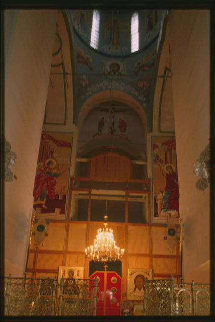 Cathedral of St. Sophia and Dormition (1681-86), interior, view east toward icon screen being repainted after devastation of Soviet era, Tobol'sk, Russia