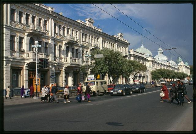 Chernavinskii Prospekt (now Lenin Street), Moscow Trading Rows (1904), and Vikula Morozov Building, with Volga-Kama Bank of Commerce (1904), illustrate the development of Omsk as a major Siberian business center before World War I, Omsk, Russia