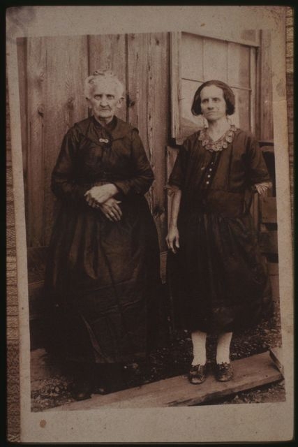 Copy photo of a picture loaned by Glenna Bailey, showing her friend Angeline Pettry with her mother, who was married to Absalom Pettry, a blacksmith who lived at the mouth of Hazy