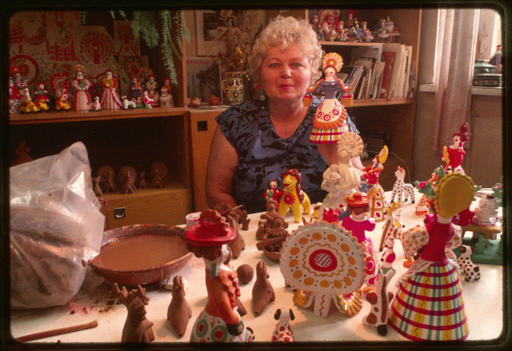Dymkovo clay toys made by Viatka artist L. N. Dokena, Viatka, Russia