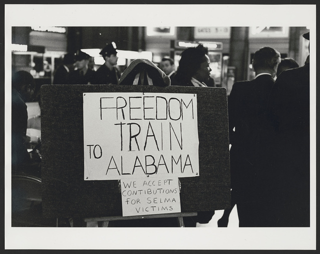 Freedom train to Alabama. We accept contributions for Selma victims