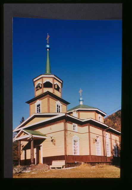 Log Church of Saint Nicholas (1846), southwest view which was originally built near the site where Lake Baikal drains into the Angara River, Listvianka, Russia