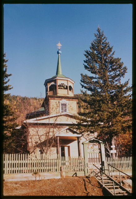 Log Church of Saint Nicholas (1846), west view which was originally built near the site where Lake Baikal drains into the Angara River, Listvianka, Russia