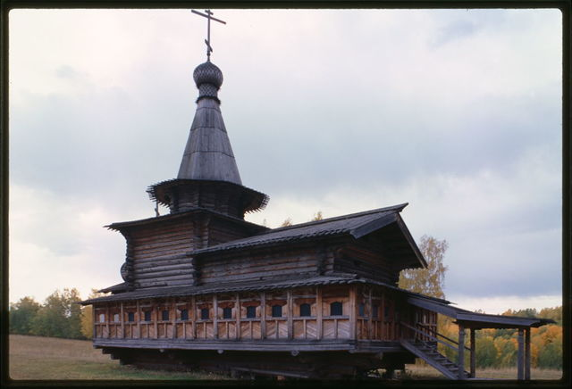 Log Church of the Savior from the village of Zashiversk (1700), northwest view, moved and reassembled in the Outdoor Architecture and History Museum at Akademgorodok, Russia