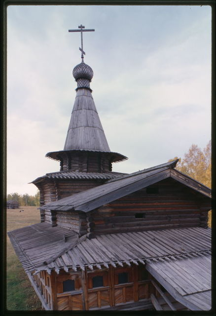 Log Church of the Savior from the village of Zashiversk (1700), west view from bell tower, moved and reassembled in the Outdoor Architecture and History Museum at Akademgorodok, Russia