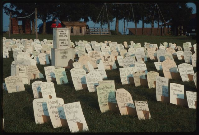 """Mountain Top Cemetery,"" spread out on field in front of Appalachian Folklife Center, created by Carol Jackson, an artist from Hinton, West Virginia"