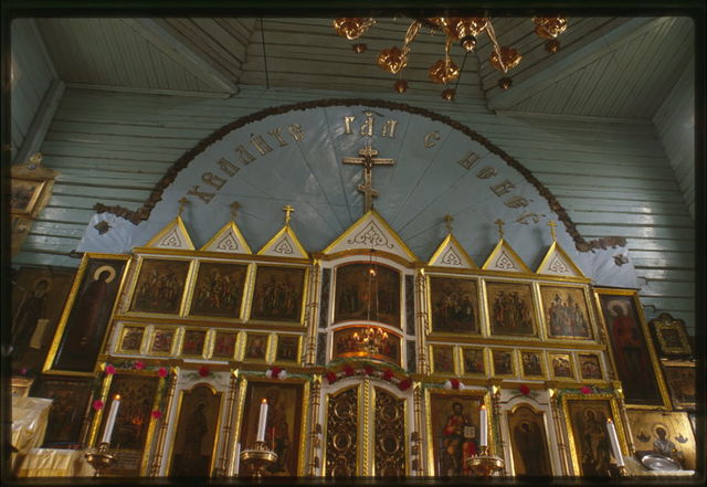 Old Believer Church of the Trinity (around 1907), interior, view east with upper part of icon screen, Tomsk, Russia