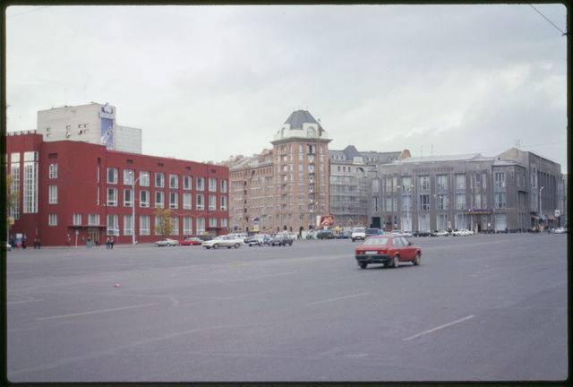 Panorama of Lenin Square, with State Bank Building (1930), on left, Novosibirsk, Russia