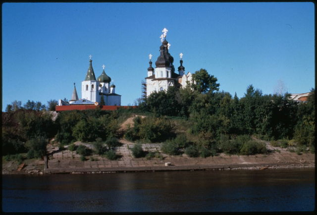 Trinity Monastery, east panorama with Trinity Cathedral (1715) (right), and the Church of Saints Peter and Paul (1755) (left), and Tura River in foreground, Tiumen', Russia