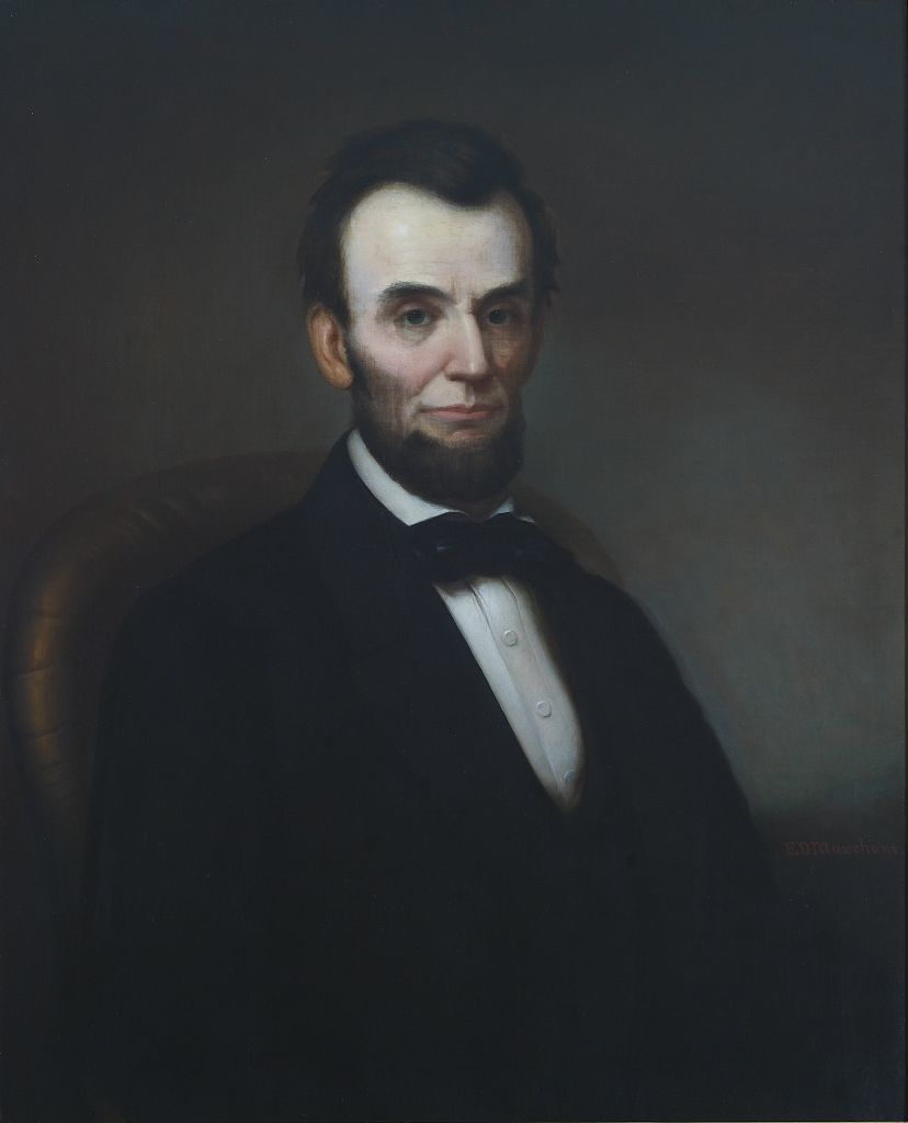 Abraham Lincoln portrait in the Lincoln room, Blair House, located across from the White House, Washington, D.C.
