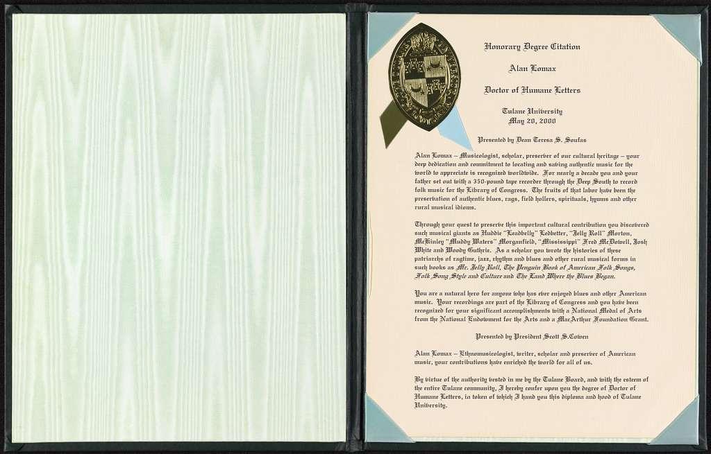 Alan Lomax Collection, Manuscripts, Awards
