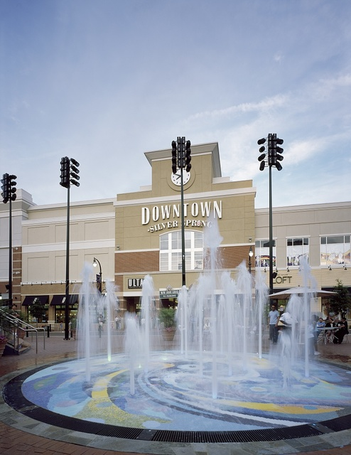 An open space and fountain outside a shopping and restaurant row, part of a wholesale renovation of this close-in (to Washington, D.C.) Maryland suburb of Silver Spring in the 2000s