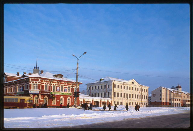 Beliavskii house (circa 1900), and Building of Spiritual Consistory, (early 19th century), Arkhangelsk, Russia