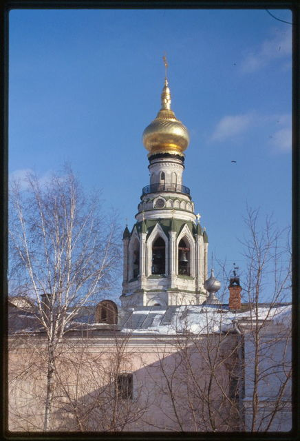 Cathedral belltower (17th century, rebuilt 1869-70), northwest view over Kremlin walls, Vologda, Russia