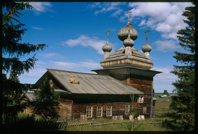 Church of Saints Peter and Paul (1637), with 19th-century vestibule, southwest view, Virma, Russia