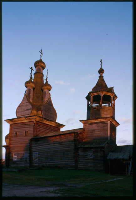 Church of the Hodigitria Icon of the Virgin (1763), northwest view, sunset, Kimzha, Russia