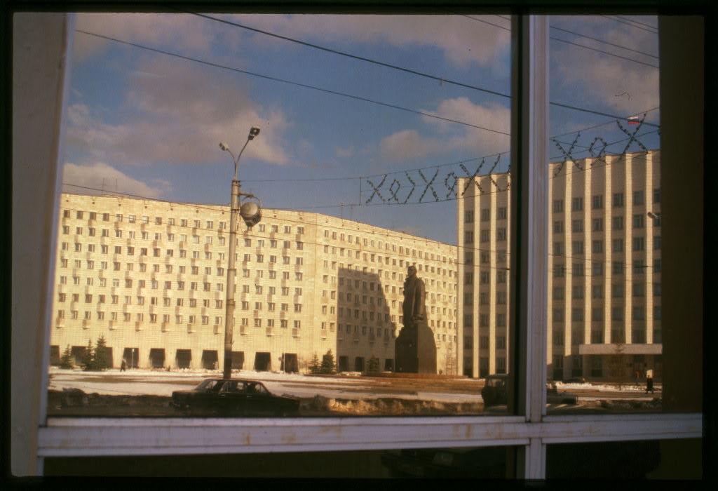 Lenin Square, window reflection, Arkhangel'sk, Russia
