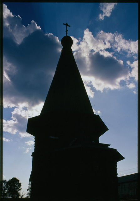 Log Church of St. Dmitrii, (1784-1785), east view, silhouette, Verkhniaia Uftiuga, Russia