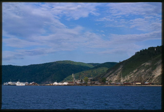 Panorama with Kamni-Ponamarevskie Mountains, Baikal (town), Russia