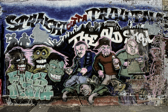 """""""Straight outta Troutman, The Old Skool, Faces of Death"""" mural, Troutman St., at Central Ave., Bushwick, Brooklyn, 2000"""