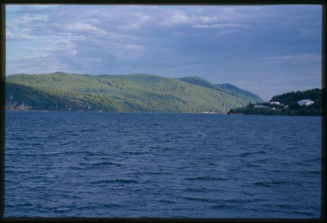 View northwest across lake to the origins of the Angara River, Lake Baikal, Russia