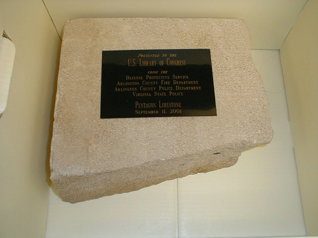 [Architectural fragment. Limestone block recovered from the Pentagon after the terrorist attack of September 11, 2001]
