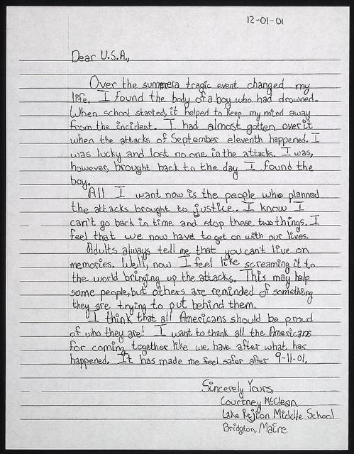 Dear U.S.A., over the summer a tragic event changed my life ... / Courtney McClean, Lake Rejion [i.e. Region] Middle School, Bridgton, Maine.
