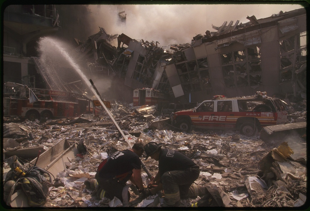 [Fire fighting in the aftermath of the September 11th terrorist attack on the World Trade Center, New York City]