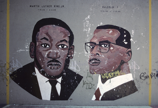 Mural of MLK, Jr., and Malcolm X at a playground, Tomkins Houses, Myrtle and Tomkins Aves., Brooklyn, New York 2001