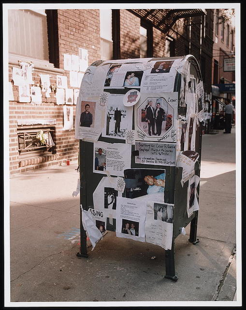 [Notices and pictures of missing persons posted on a city mailbox following the September 11th terrorist attack on the World Trade Center, New York City]