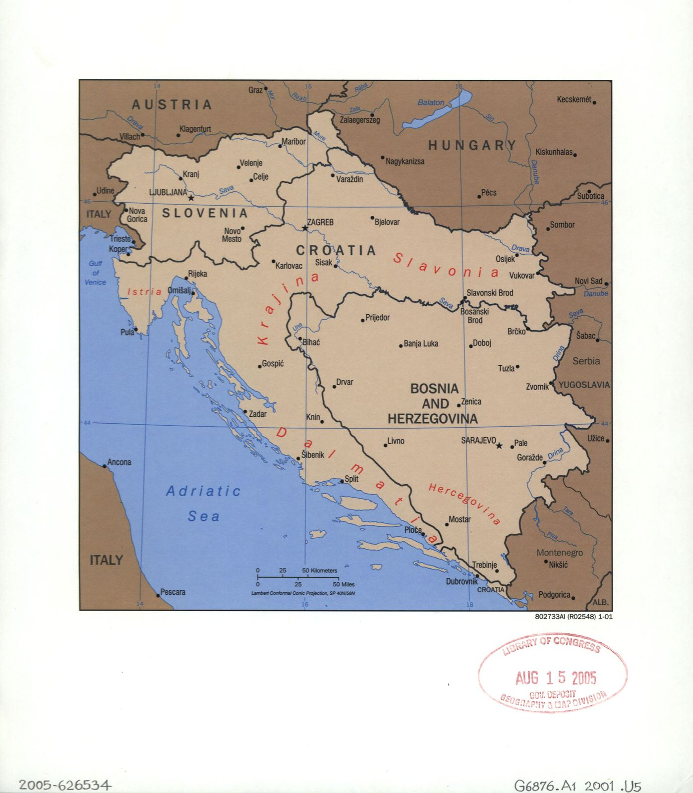 [Outline map of Slovenia, Croatia, and Bosnia and Hercegovina].