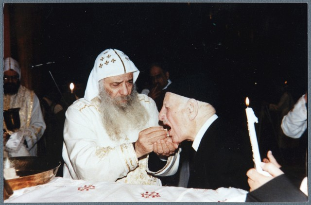 [ Ragheb Moftah taking Holy Communion with His Holiness Pope Shenouda III], 2001