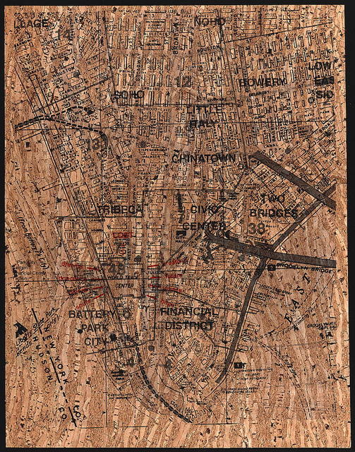 [Street map showing ground zero area of lower Manhattan in New York City, following the September 11th terrorist attack] / René Levy.