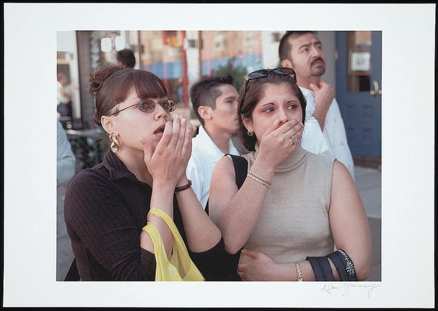 [Two women looking upwards with expressions of shock and horror, during the September 11th terrorist attack on the World Trade Center, New York City] / Don Halasy.