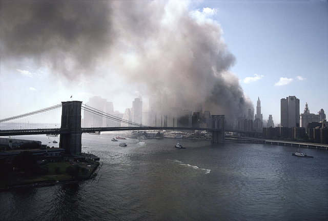 View of Lower Manhattan from the Manhattan Bridge, September 11, 2001