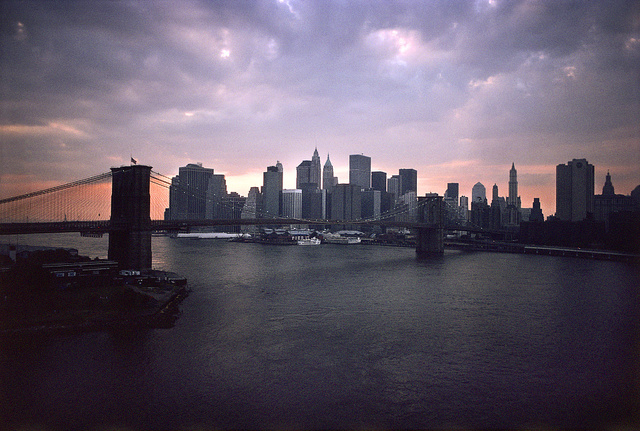View of Lower Manhattan from the Manhattan Bridge, September 2001